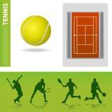 Elementi di disegno di tennis Fotografie Stock