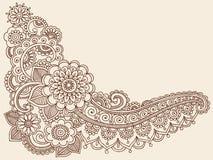 Elementi di disegno di vettore di Doodle di Mehndi del hennè Fotografie Stock Libere da Diritti