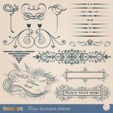 Elementi di disegno e decorazione calligrafici della pagina Fotografie Stock