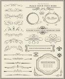 Elementi di disegno e decorazione calligrafici della pagina Immagini Stock