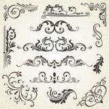 Elementi di disegno e decorazione calligrafici della pagina Insieme di vettore per abbellire la vostra disposizione Fotografie Stock