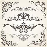 Elementi di disegno e decorazione calligrafici della pagina Insieme di vettore per abbellire la vostra disposizione Fotografia Stock