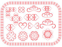 Elementi di disegno fatti dei biglietti di S. Valentino Fotografie Stock