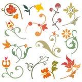 Elementi di disegno floreale Immagini Stock Libere da Diritti