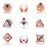 Elementi di disegno nei colori caldi. Immagine Stock Libera da Diritti