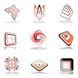 Elementi di disegno nei colori caldi. Insieme 13. royalty illustrazione gratis