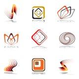 Elementi di disegno nei colori caldi. Insieme 15. Immagine Stock