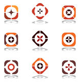 Elementi di disegno nei colori caldi. Insieme 6. Immagine Stock Libera da Diritti