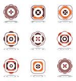 Elementi di disegno nei colori caldi. Insieme 7. Immagini Stock