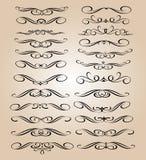 Elementi di disegno stabilito Illustrazione di vettore Beige nero Immagini Stock