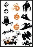 Elementi di disegno su un tema di Halloween Fotografia Stock Libera da Diritti