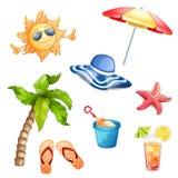 Elementi di estate isolati Immagine Stock