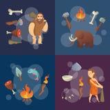 Elementi di età della pietra Illustrazione dei cavernicoli del fumetto di vettore royalty illustrazione gratis
