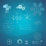 Elementi di finanze e di affari. Disegnato a mano Immagini Stock