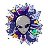 Elementi di Gray Alien Head And Space Fotografia Stock Libera da Diritti