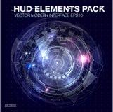 Elementi di HUD per progettazione di moto Spazio cosmico del fondo di Hud Elementi di Infographic Interfaccia utente futuristica  illustrazione vettoriale
