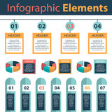 Elementi di Infographic che commercializzano i diagrammi a torta di analisi dei dati Immagine Stock