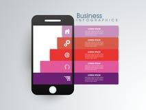 Elementi di Infographic con lo smartphone per l'affare Fotografia Stock