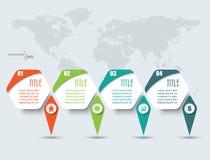 Elementi di Infographic con quattro opzioni e mappe di mondo Fotografie Stock Libere da Diritti