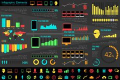 Elementi di Infographic dell'industria delle tecnologie dell'informazione Immagine Stock