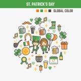 Elementi di Infographic per i bambini circa il giorno di San Patrizio Fotografie Stock Libere da Diritti