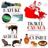 Elementi di Infographic per il viaggio nel Canada Fotografia Stock Libera da Diritti