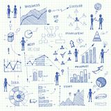 Elementi di infographics dei grafici di affari di scarabocchio Fotografia Stock Libera da Diritti