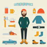 Elementi di Infographics di tendenza di modo del tagliaboschi Fotografia Stock