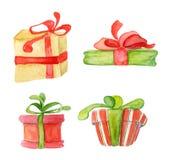 Elementi di inverno della decorazione dell'acquerello di Buon Natale Carta del buon anno, manifesti regali fotografia stock