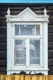 Elementi di legno della facciata di architettura Finestra immagini stock