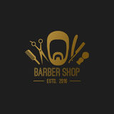 Elementi di logo del barbiere Fotografia Stock