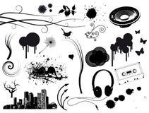 Elementi di musica di Grunge Fotografie Stock Libere da Diritti