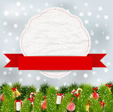 Elementi di Natale con l'insegna Fotografie Stock Libere da Diritti