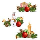 Elementi di Natale isolati Fotografie Stock Libere da Diritti