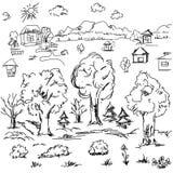 Elementi di paesaggio nel profilo Elementi all'aperto di schizzo di scarabocchio Fotografia Stock Libera da Diritti
