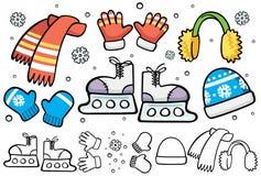 Elementi di pattinaggio sul ghiaccio del fumetto Fotografia Stock