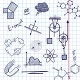 Elementi di phisics di tiraggio della mano di vettore illustrazione vettoriale