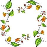 Elementi di progettazione con fiori di scarabocchio del disegno a tratteggio Immagini Stock