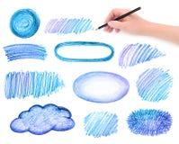 Elementi di progettazione degli scarabocchi della matita e della mano Fotografie Stock Libere da Diritti