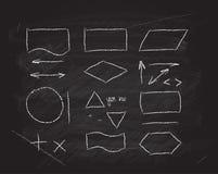 Elementi di progettazione dei diagrammi di flusso di vettore sulla lavagna Fotografie Stock