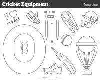 Elementi di progettazione del gioco del cricket di vettore Immagini Stock Libere da Diritti