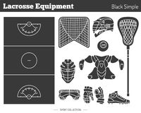 Elementi di progettazione del gioco di lacrosse di vettore Immagine Stock
