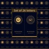 Elementi di progettazione del monogramma, modello grazioso Insieme dell'emblema delle lettere Linea elegante calligrafica progett Immagine Stock