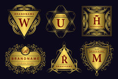 Elementi di progettazione del monogramma, modello grazioso Linea elegante calligrafica progettazione di logo di arte Emblema dell Fotografie Stock