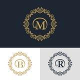 Elementi di progettazione del monogramma, modello grazioso Linea elegante calligrafica progettazione di logo di arte Segni il seg Fotografie Stock