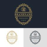 Elementi di progettazione del monogramma, modello grazioso Linea elegante calligrafica progettazione di logo di arte Segni il seg illustrazione di stock