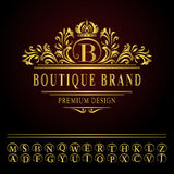 Elementi di progettazione del monogramma, modello grazioso Linea elegante progettazione di logo di arte Immagini Stock