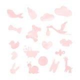 Elementi di progettazione dell'acquerello della roba del bambino Immagini Stock