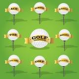 Elementi di progettazione dell'insegna e della palla da golf Fotografie Stock