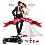 Elementi di progettazione dell'invito di nozze Immagini Stock